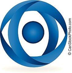 blu, cerchio, vettore, astratto