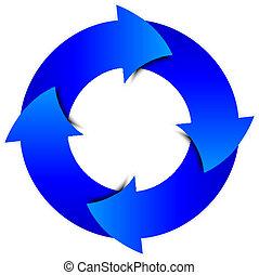blu, cerchio, vettore, frecce