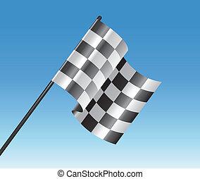 blu, checkered, cielo, bandiera, vettore, da corsa