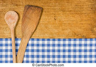 blu, checkered, cucchiaio legno, fondo, tovaglia