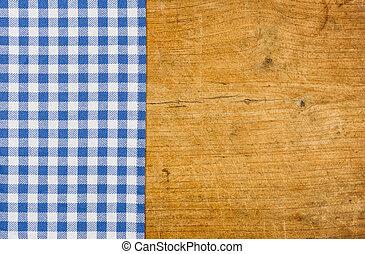 blu, checkered, legno, rustico, fondo, tovaglia