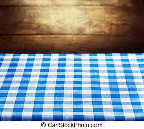 blu, checkered, legno, sopra, fondo, tovaglia