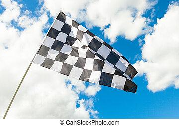 blu, checkered, nubi, cielo, bandiera, fondo