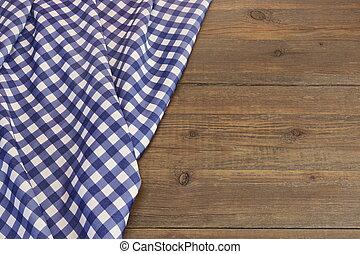 blu, checkered, picnic, legno, piegato, rustico, tavola, tovaglia