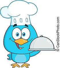 blu, chef, piatto da portata, uccello, presa a terra
