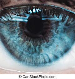 blu, chiudere, vettore, su, eye.