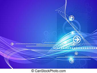 blu, ciao-tecnologia, astratto, frecce, vettore, fondo, onde