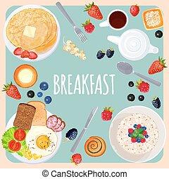 blu, cibo, luce, isolato, illustrazione, tavola, colazione