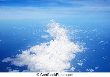 blu, cielo, bianco, nubi