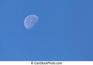 blu, cielo chiaro, luna