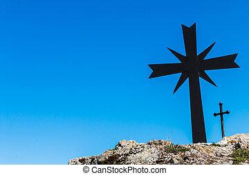 blu, cielo, cristiano, croce, fondo
