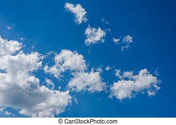 blu, cielo, Lanuginoso, nubi, bianco