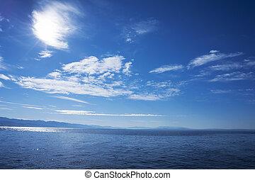 blu, cielo, superficie, acqua, nuvoloso, mare