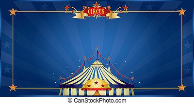 blu, circo, magia, invito