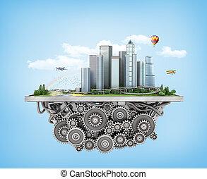 blu, città, concetto, city., albero, 3d, meccanismo, fondo...