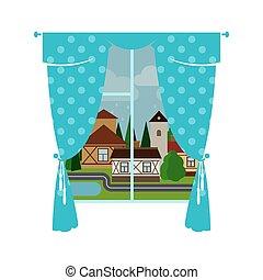 blu, città, piovoso, finestra, tenda