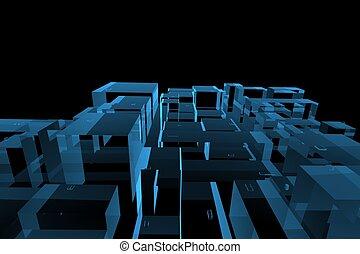 blu, città, reso, xray, trasparente, 3d