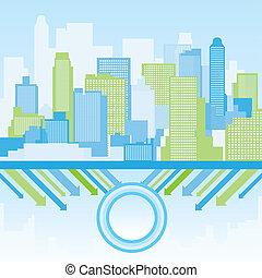 blu, città, sfondo verde