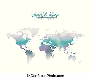 blu, città, silhouette, mappa, viola, luci, mondo, degraded, colorare