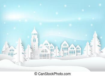 blu, città, stile, arte, inverno, stagione, città, cielo, neve, fondo., carta, vacanza, natale, illustration.