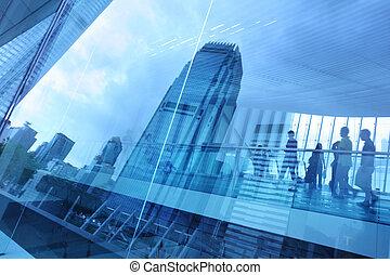 blu, città, vetro, fondo