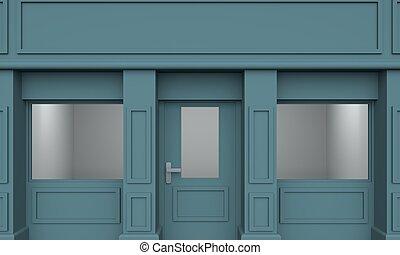 blu, classico, interpretazione, store., vuoto, 3d
