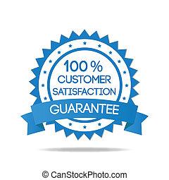 blu, cliente, distintivo, soddisfazione