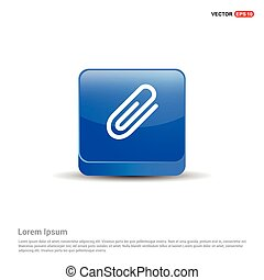 blu, clip, bottone, -, carta, 3d, icona