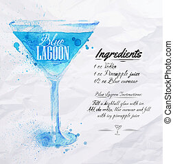 blu, cocktail, acquarello, laguna
