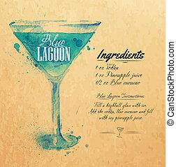blu, cocktail, kraft, acquarello, laguna