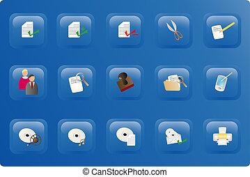 blu, colorare, bottone, set, ufficio