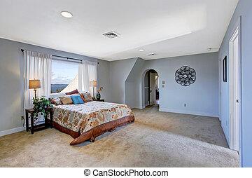 blu, colorare, luce, spazioso, camera letto, interno