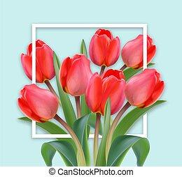 blu, colorare, realistic., sfondi, mazzolino, tulipano, luminoso, vettore, madre, fiori, giorno, scheda, felice