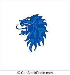 blu, colorare, ruggito, simbolo, sfondo bianco, leone, icona