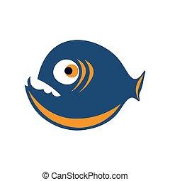blu, colorato, illustrazione, vettore, piranha, arancia