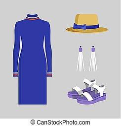 blu, colorito, vestire, accessori, lungo, bandiera