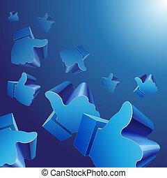 blu, come, volare, simboli, fondo, 3d