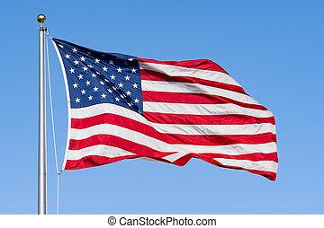 blu, commemorativo, background;, cielo, su, giorno, bandiera, 4, chiudere, americano, luglio, o