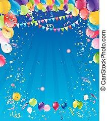 blu, compleanno, fondo