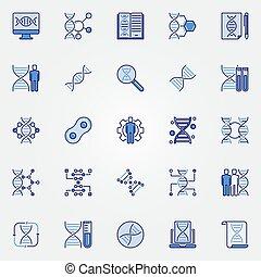 blu, concetto, genetica, icone, -, vettore, simboli, set, dna