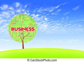 blu, concetto, parola, forma, affari, albero, nuvola, cielo