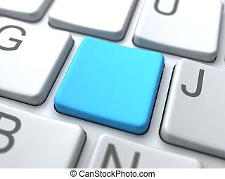 blu, concetto, tastiera, media, sociale, button-, vuoto