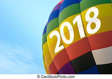 blu, concetto, testo, balloon, cielo, aria, anno, caldo, 2018, anno, nuovo, celebrazione, felice