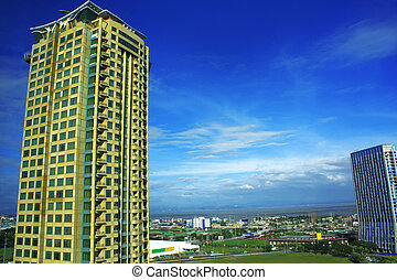 blu, condominio, torre, contro