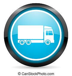 blu, consegna, lucido, fondo, cerchio, bianco, icona