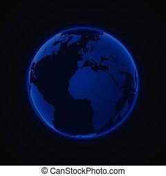 blu, continenti, globo, ardendo, sfondo nero, vector.