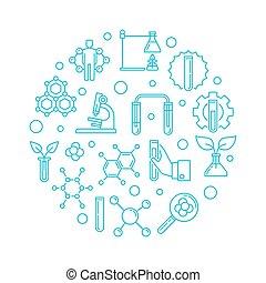 blu, contorno, illustrazione, vettore, biologico, chimica, rotondo
