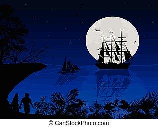 blu, coppia, silhouette, tramonto, mare, barche