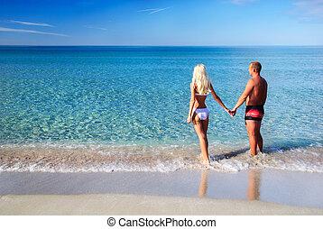 blu, coppia, stare, dall'aspetto, mare sabbia, spiaggia, amare
