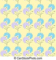blu, cornflower, fiore, isolato, illustrazione, fondo., vettore, cyanus, centaurea, bianco, cartone animato